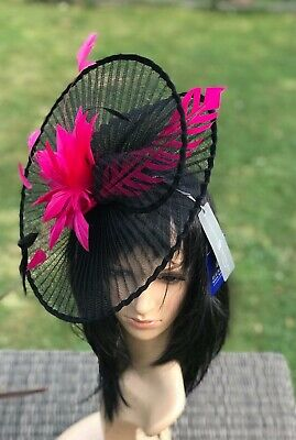 SUZANNE BETTLEY BLACK AND RED WEDDING  HAT DISC FASCINATOR OCCASION FORMAL