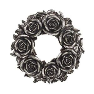 Alchemy-Gothic-Black-Rose-Silver-Resin-Wall-Hanging-Table-Decoration-18cm