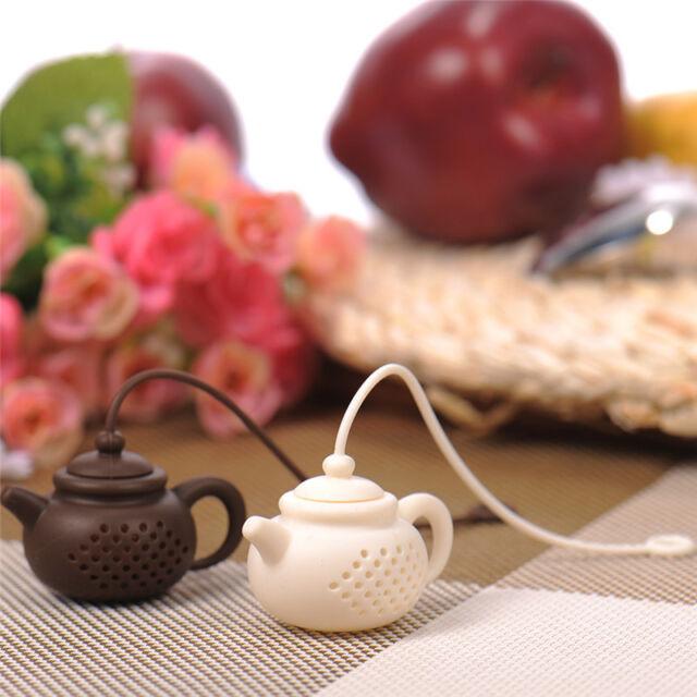 Teapot-Shape Tea Infuser Strainer Silicone Tea Bag Leaf Filter Diffuser 2 Colors
