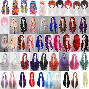 Women-Long-Curly-Wavy-Straight-Wigs-Short-Bobo-Hair-Full-Wig-Cos-Party-Costume