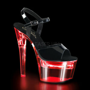 Usb 35 Flashdance Damen Ladekabel Zu Mit Heels High Details Led Sandaletten 709 41 Pleaser yN0wvm8On