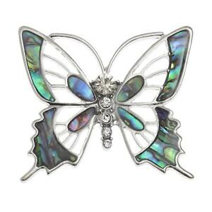 Tide-Jewellery-Inlaid-Green-Paua-Shell-Butterfly-Brooch-Pin-Fashion-Jewellery