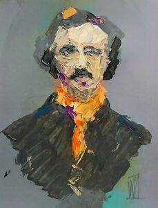 Abstract Portrait of Edgar Allen Poe Macabre Raven Wall Art Original Painting