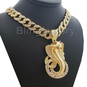Hip-Hop-Iced-Cobra-Snake-Pendant-amp-18-034-Full-Iced-Cuban-Choker-Chain-Necklace