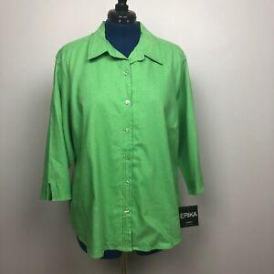 Erika-Women-039-s-Size-3X-Button-Down-3-4-Sleeve-Green-Shirt-Linen-Blend-NWT