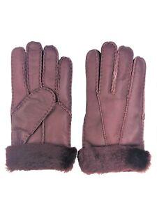 Women-039-s-Genuine-Sheepskin-Burgundy-Warm-Leather-Shearling-Fur-Gloves