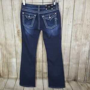 Miss-Me-Womens-Boot-Cut-Jeans-Size-31-Flap-Pockets-Dark-Wash-33-Inseam-Long