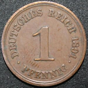 1891-A-Germany-Empire-1-Pfennig-Copper-Coins-KM-Coins