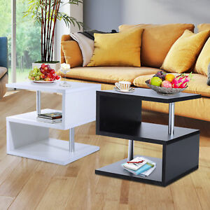 Image Is Loading 2 Tier Side End Coffee Table Storage Shelves
