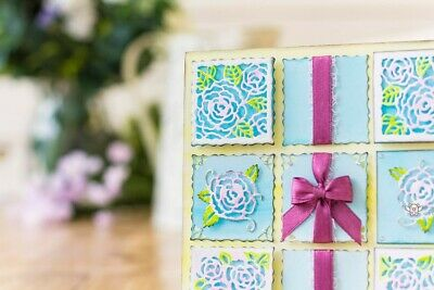 6 pce square rose blocks die set wavy metal cutting die cutter UK fast post