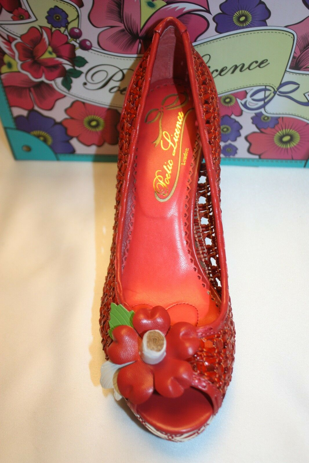 NEW NEW NEW  NIB  POETIC LICENSE Harvest Pumpkin Woven Leder PRICKLY PEAR Pumps 8 129 e56cb0