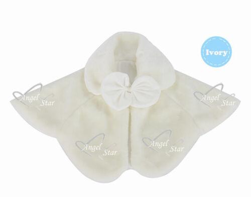 M L Ivory Wedding Party Flower Girl faux fur stole Wraps Cap  S