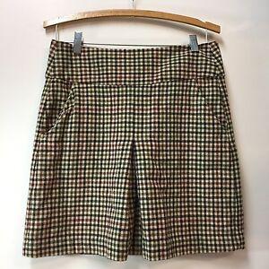Banana-Republic-Skirt-Size-4-Wool-Lined-Autumn-Check-Pattern-Single-Front-Pleat
