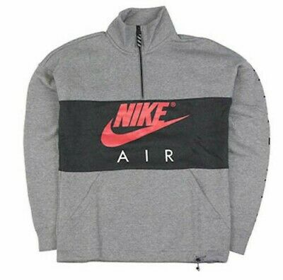 sale retailer 1f058 bdfae Nike Air Half Zip Fleece Pullover Sweatshirt Mens Black Grey Red AV3019-091  zs M | eBay