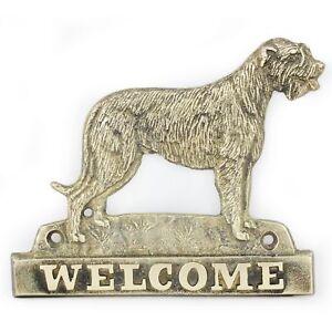 Lévrier Irlandais - Plaque De Laiton Avec Un Chien 'welcome' Art Dog Fr