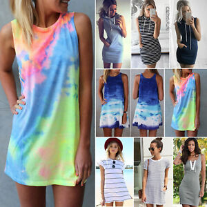 Women-Summer-Casual-Short-Mini-Dress-Tops-T-shirt-Holiday-Beach-Sundress-Dresses
