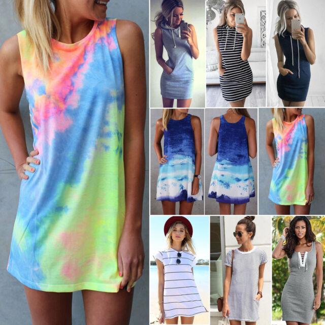Women Summer Casual Short Mini Dress Tops T-shirt Holiday Beach Sundress Dresses