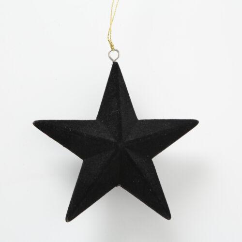 Tannenbaum Hänger STERN Schwarz Samt 5 Zacken Weihnachtsdeko 12 cm Weihnachten