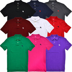 Express-Mens-Modern-Fit-Classic-Mesh-Pique-Polo-Shirt-Embroidered-Lion-Logo-Nwt