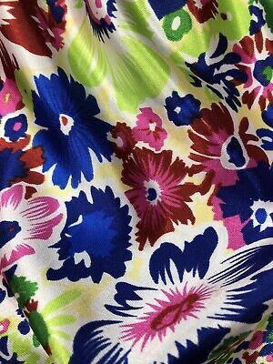Diseñador de algodón suave satén Vestido Estampado Floral Multicolor Tela Artesanal