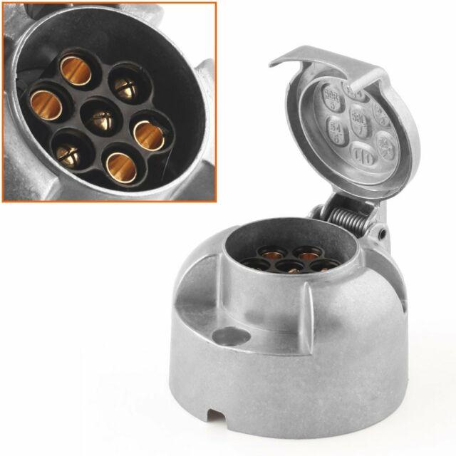 7 Pin 12N Towing Electrics Metal Alloy Trailer Car Plug Socket Towbar Alumium