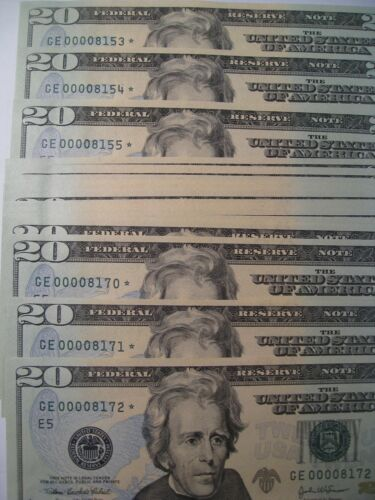 2 CU Crisp 2004-A Consecutive Low 4 Digit Serial Number $20 FRN *STAR* Notes.