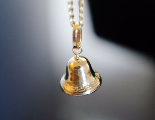 Jingle Bell Ring Pendant Real 14k Yellow Gold Luck Charm Campana Oro Medalla