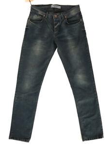 Herren-Designer-Slim-Fit-Super-Stretch-Jeans-Hose-Blau-W30-L30-4191
