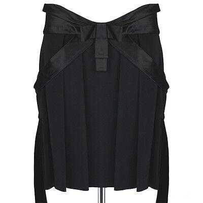 Alexander McQueen Black Satin Draped Effect Waistband Pleated Skirt IT42 UK10