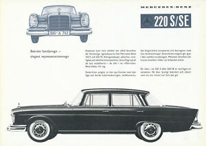 Mercedes-220-S-SE-W-111-Prospekt-schwedisch-1959-brochure-broschyr-brosjyre-Auto