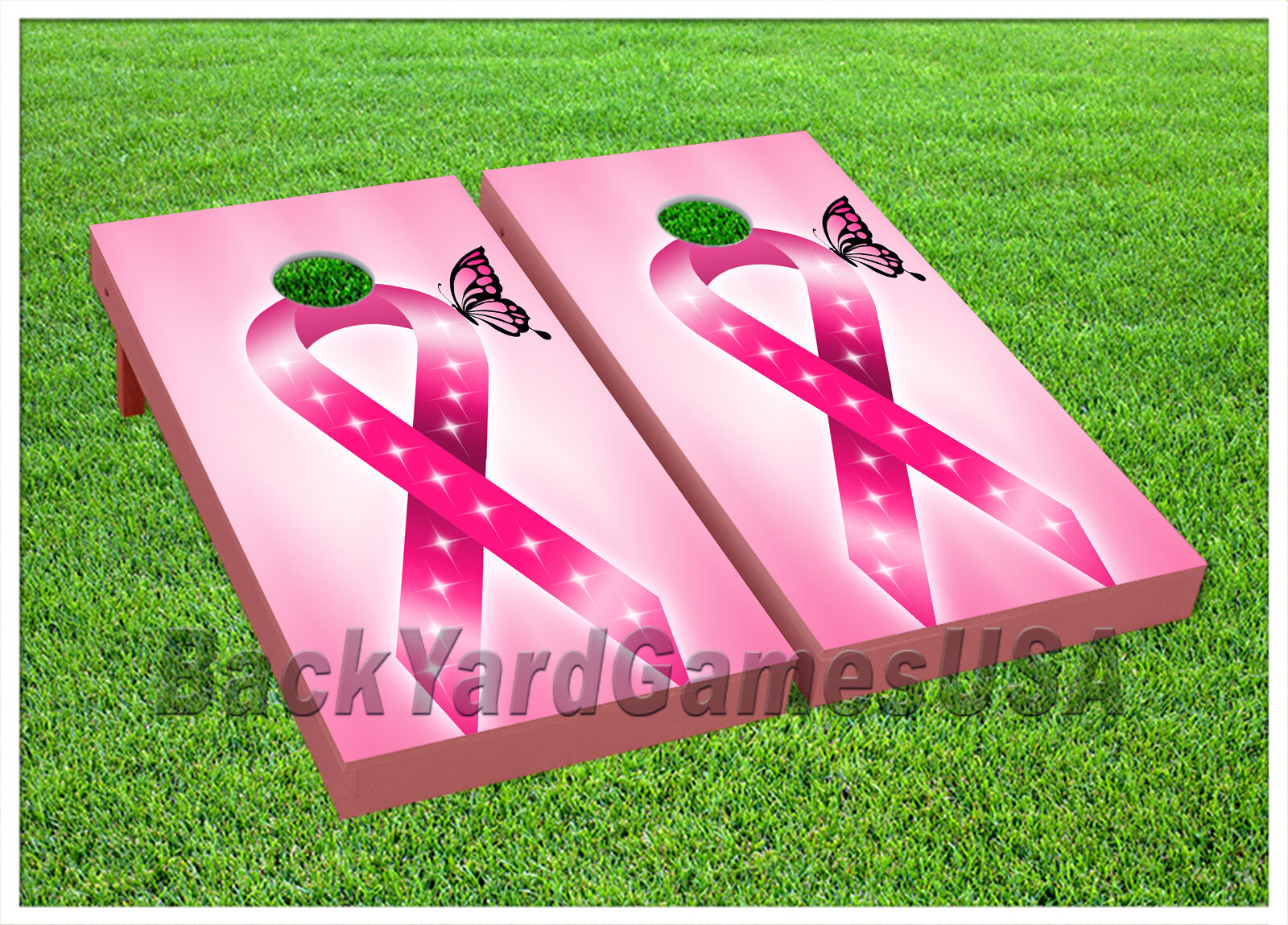 VINYL WRAPS CORNHOLE BEANBAG Boards Pink Ribbons for Breast Cancer 923