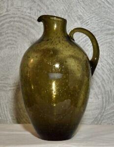 Sehr-schoene-Vase-Krug-Rauch-Glas-der-Firma-Fueger-Taube-1960