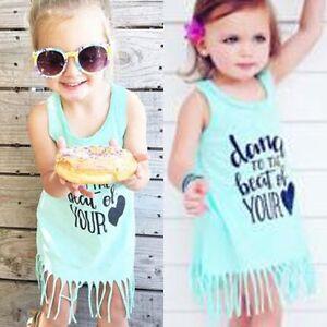 Toddler Baby Girls Summer Beach Dress Kids Clothes Casual Sundress ... 208bc58bb580