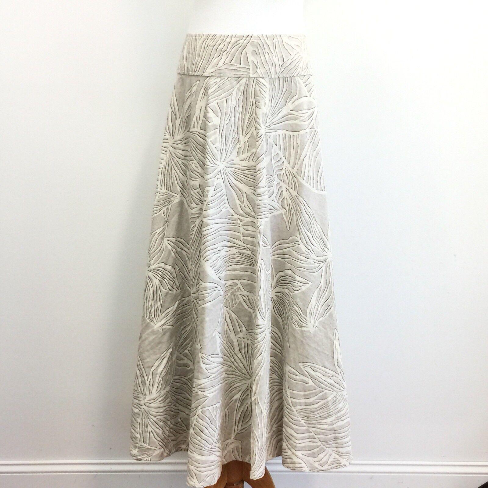 """Gorgeous Austin Reed Long Full Linen Cotton Blend Skirt Womens Sz 8 Waist 30"""""""