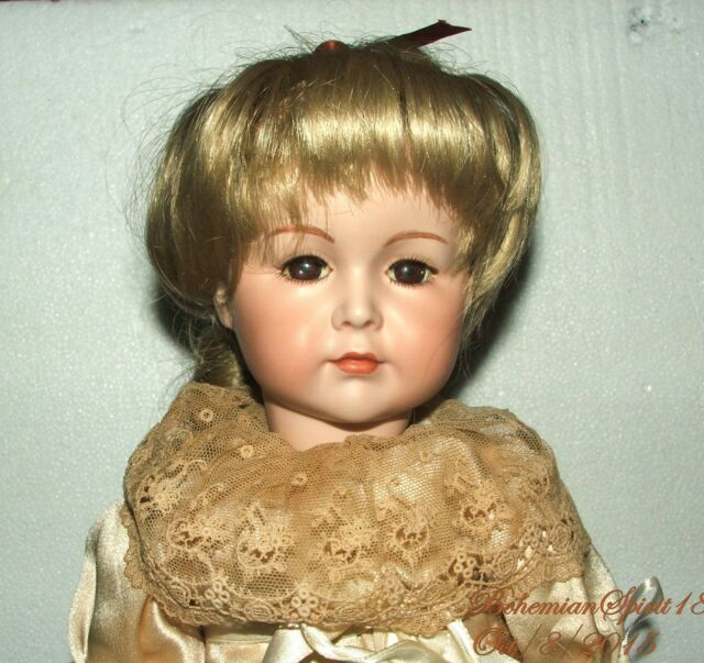 VINTAGE REPRO SIMON & HALBIG BISQUE GIRL GLASS EYES ORIGINAL DRESS DOLL