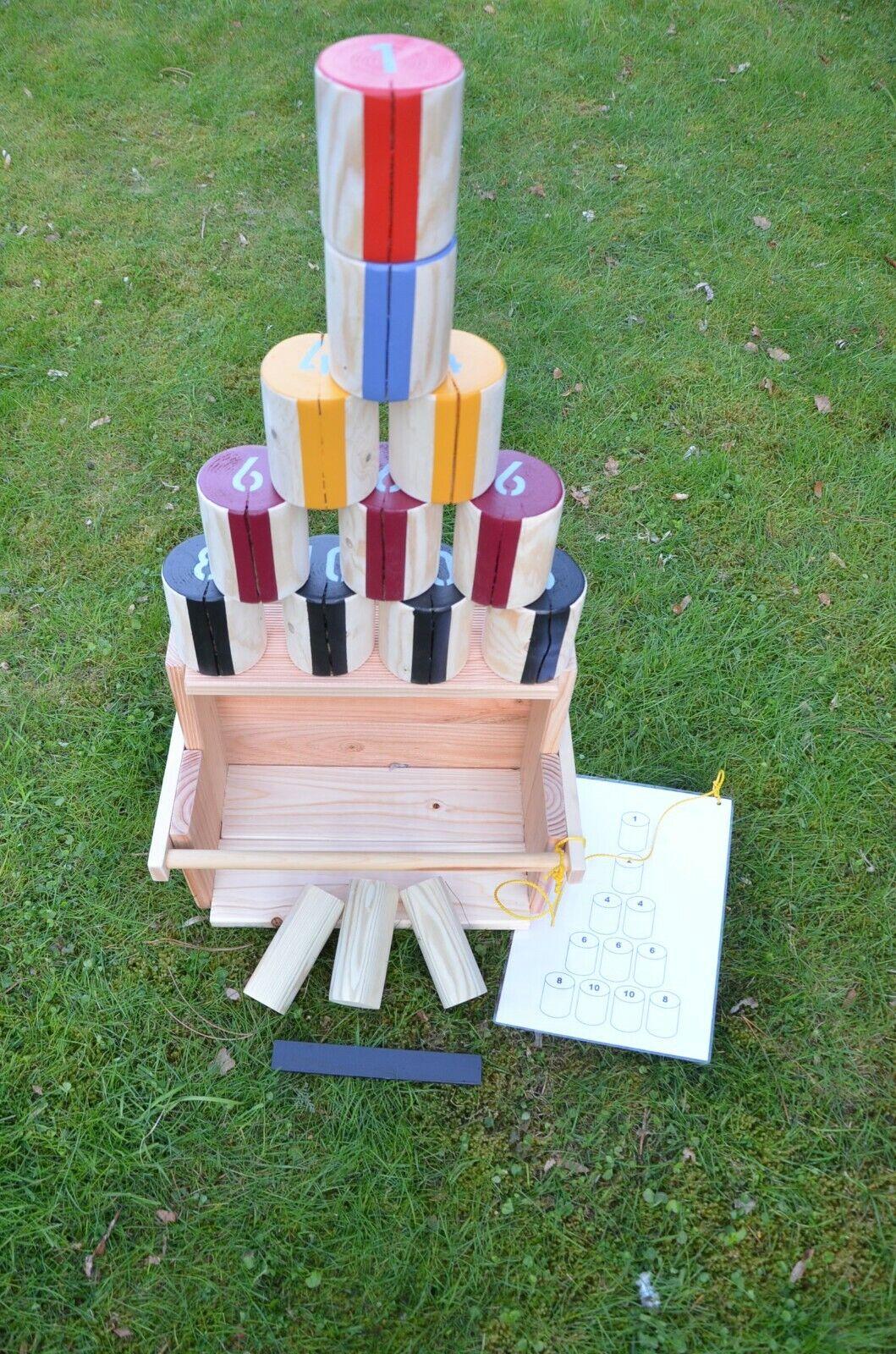 Outdoorspiele  Holzdosenwerfen bunt® , für draußen mit Stabiler Holzkiste.