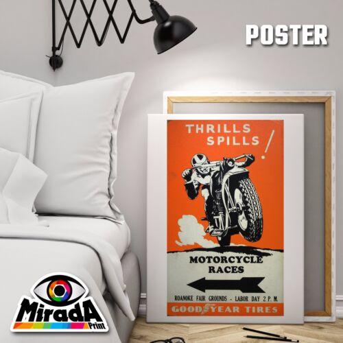 POSTER MOTORCYCLE RACER VINTAGE GOOD YEAR  CARTA FOTOGRAFICA 35x35 50x50 70x70