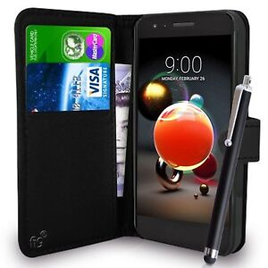 Black-Wallet-Case-PU-Leather-Book-Cover-For-LG-K8-2016-2017-2018-Mobile-Phone