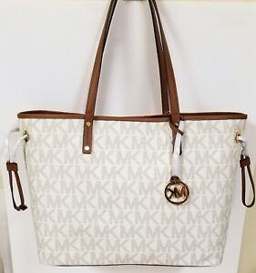 20e6e23a2bac MICHAEL KORS JET SET VANILLA WHITE PVC+BROWN TRIM REVERSIBLE LARGE ...