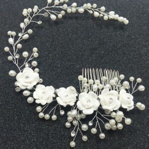 Jewelry Women Prom Crystal Pearl Headpiece Hair Comb ...
