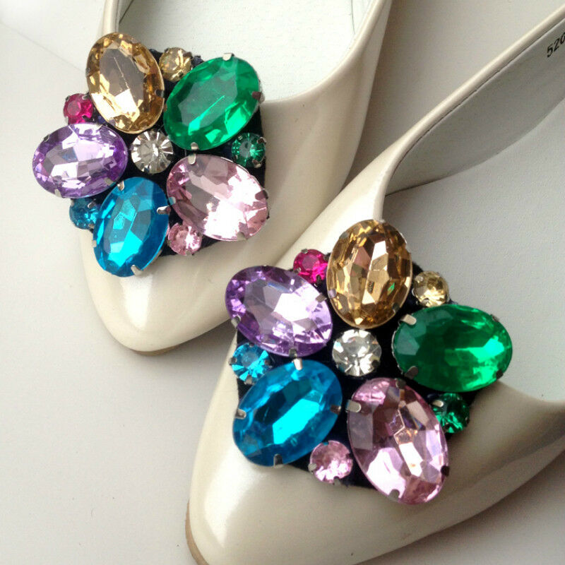 A Pair Color Flower Shoes Decor Rhinestone Crystal Wedding Bridal Boots Charms