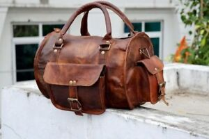 Bag-Men-Leather-Gym-Genuine-Travel-Overnight-Luggage-Duffel-Vintage-S-Brown-New
