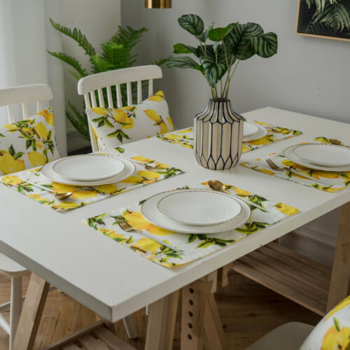 Table Runner Placemats Lemon Print Table Cloth Cover kitchen Dining Home Decor