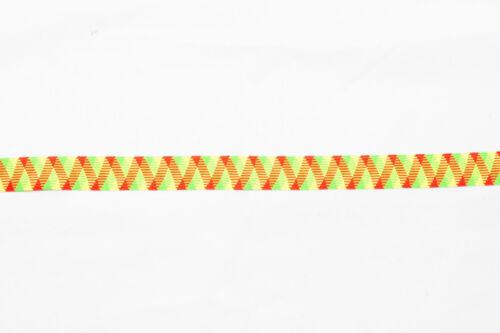 12 metros × 25 mm Ancho Fluorescente Neón Multi Color Plano Elástico