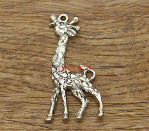 3pcs Large Giraffe Charms Pendants Animal Charms Antique Silver Tone 54x27 1632