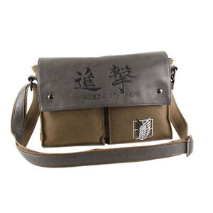 Anime Attack on Titan Shingeki No Kyojin Canvas Shoulder Messenger Bag School
