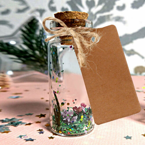 48x Small Clear Glass Cork Lid Bottles Jars Party Sweets Wedding Table Favours
