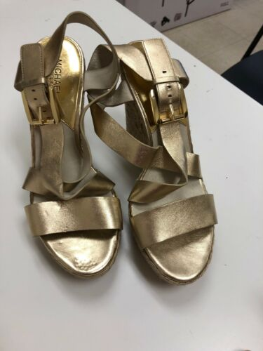 Us Heels Wedge Kors Micheal Womens 10 Toe Open IYwwqC