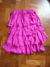 NEW D&G WOMENS PINK SILK BOOB TUBE LAYERED MINI DRESS SIZE 40
