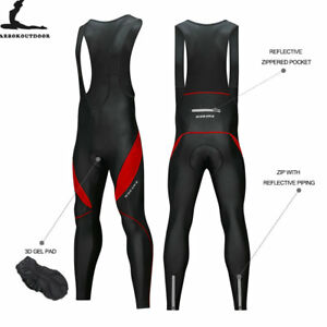 Men-039-s-Cycling-Bib-Tights-Skinsuit-Fleece-Padded-MTB-Bike-Long-Pants-Reflective
